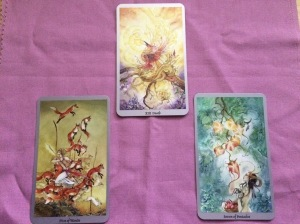 Death, Five of Wands, Seven of Pentacles from the Shadowscapes tarot.