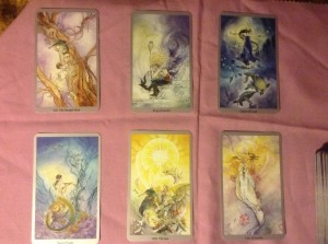"The Little Red Tarot ""Reader's Reading"" spread, using the Shadowscapes tarot"